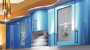 Голубой глянцевый фасад